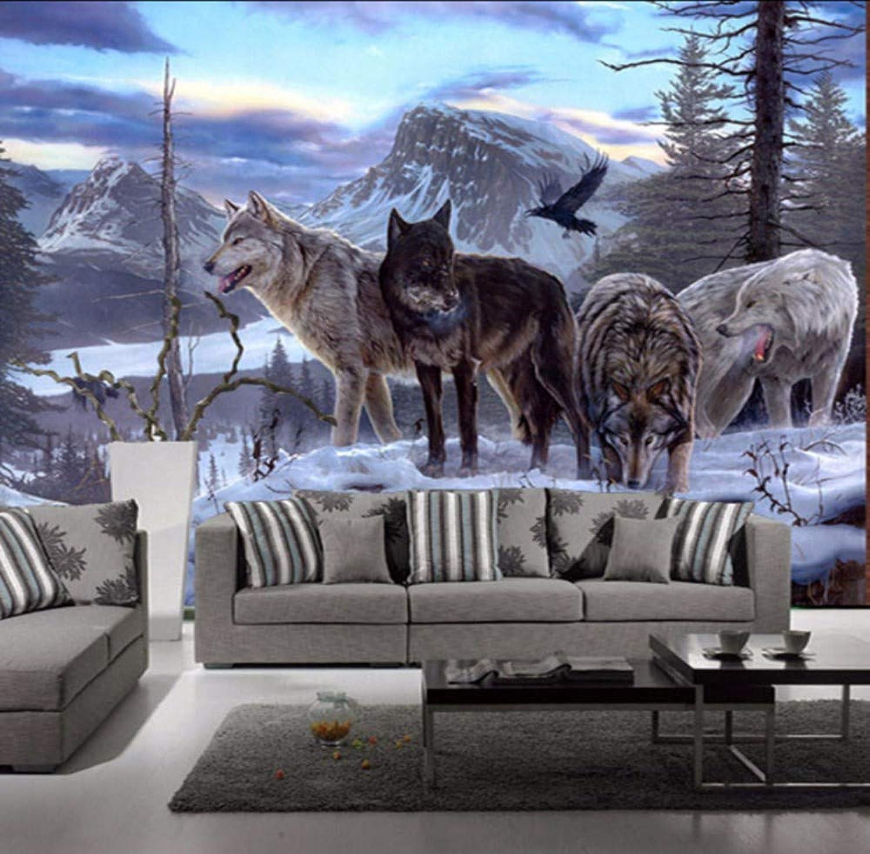 precios razonables Rureng Naturaleza Paisaje Montaa Nieve Lobo Animal 3D 3D 3D WallpaperMural Para El Fondo Del Dormitorio 3D Wall Photo Murals 3D Etiqueta De La Parojo-200X140Cm  genuina alta calidad