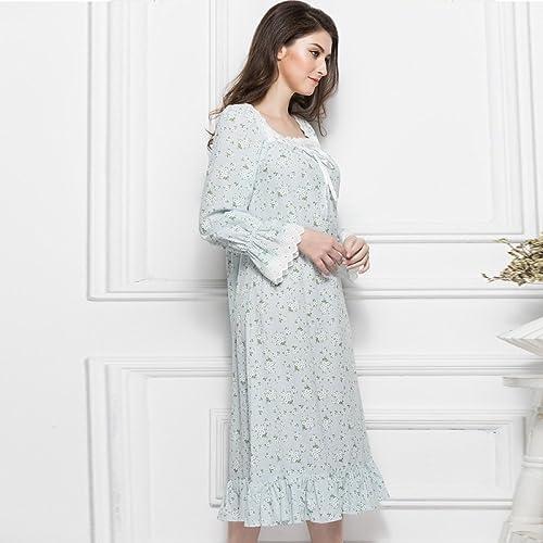 XHO Printemps Et été Palais Européen Rétro Floral Coton Lady Chemise de Nuit à Manches Longues Grande Taille Décontracté Service à Domicile Pyjamas,Bleu clair,L