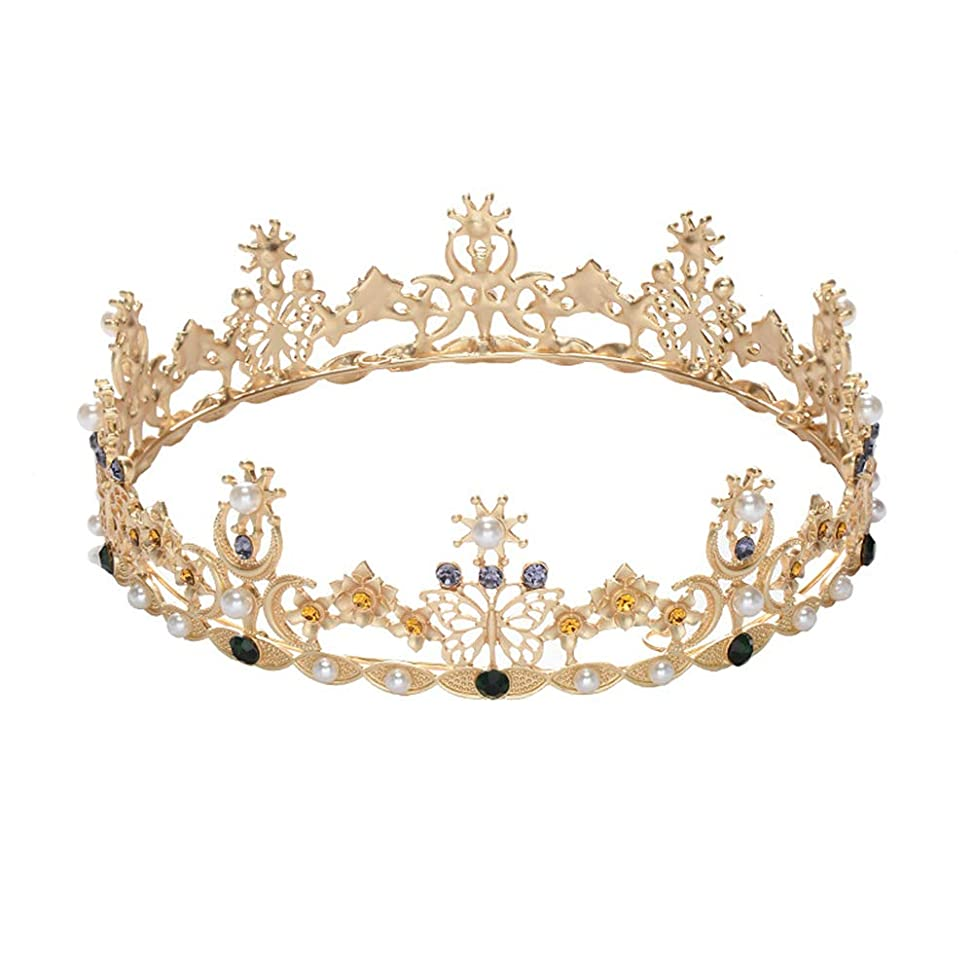 混合アクセスできない悪性LURROSE Baroque vintage crown rhinestone queen king tiaras for wedding bridal