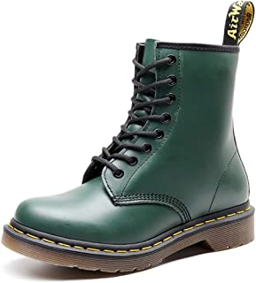 Dr. Martin unisex boots British wind couple leather booties Leather motorcycle boots Unisex Adults' Boots Oxford Boots Soles Comfortable Non-slip Wear-resistant (Color : Green, Size : 45)