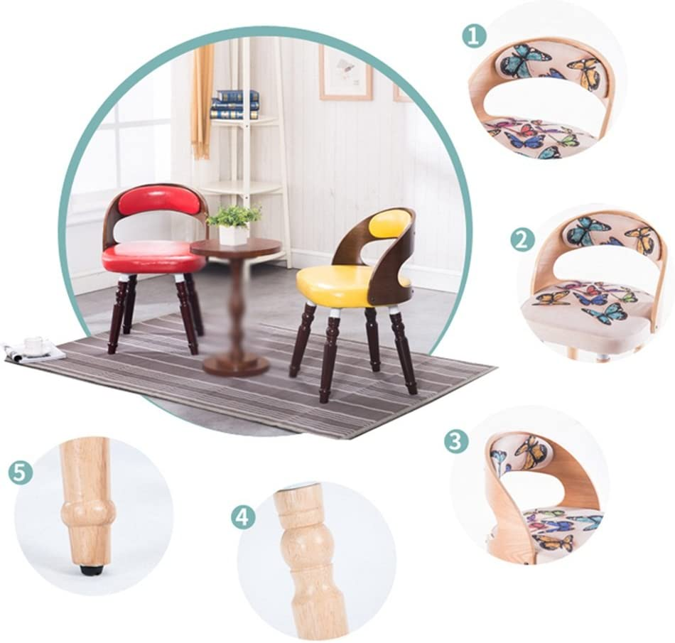 Pouf repose-pieds Chaise américaine/chaise longue/restaurant d'hôtel chaise de dossier en bois massif/tabouret de maquillage rétro/fauteuil d'étude (Color : PU1) Pu1