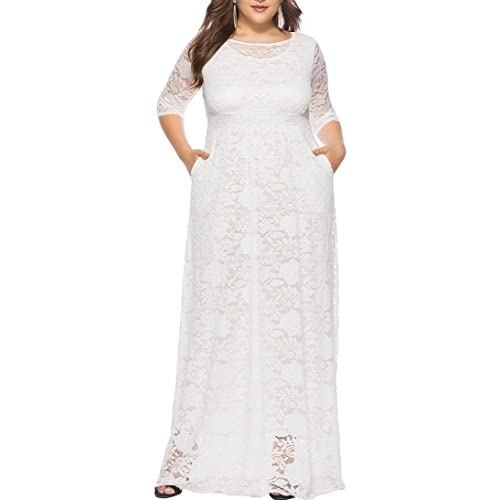 ad70ed1fe33 Eternatastic Womens Floral Lace 2 3 Sleeves Maxi Dress Plus Size Evening  Party Dress