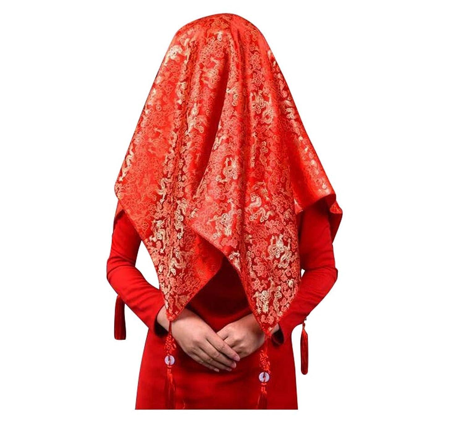 ボウル手がかり荒らす中国風の花嫁の結婚式の用品、赤い刺繍のベールの装飾、D02