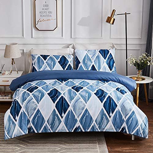 Sisher Geometric Blue Duvet Cover Set Double Size Brushed Microfiber Bedding Modern Soft Quilt Cover with Zipper Closure and Easy Care Hotel Quality Comforter Cover 200x200cm