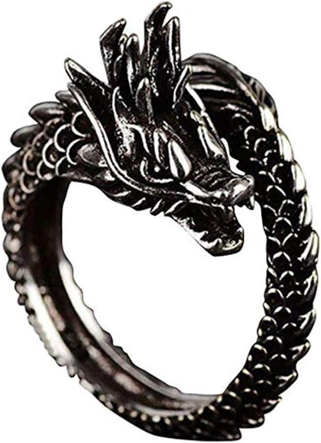 Myhouse Black Adjustable Dragon Ring Men Women Jewelry Opening Rings