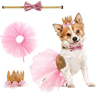 3 Pack Dog Birthday Dress Puppy Party Favor Supplies Small Dogs Cats Pink Tutu Skirt Crown Hat Bowtie Pet Costume Apparel ...