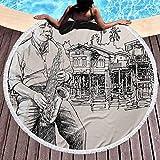 Toalla de Playa Música de Jazz Toalla de Playa Ligera Art con saxofonista de Jazz Tocando en la Orilla del río Palmeras Bungalow Reflejo para Colgar en la Playa o en la Pared Beige Negro (Diámetro 59