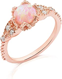 Sterling Silver Created Opal Ring for Women in White Gold and Rose Gold Plated Finish