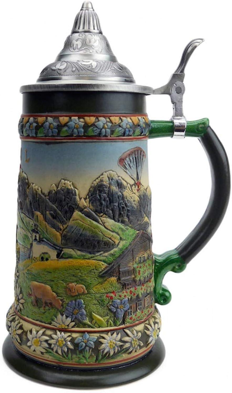Beer Stein Tirol Austrian Alps Lidded Beer Mug by E.H.G.   0.90 Liter