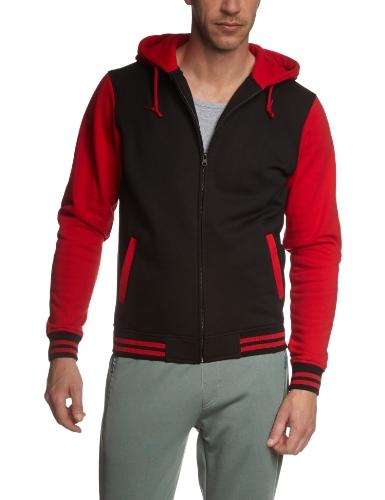 Urban Classics Herren Jacke Bekleidung Zip Hoody mehrfarbig (Blk/red) Small