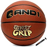 """AND1 Street Grip Premium Composite Leather Basketball & Pump- Official Size 7 (29.5"""") Streetball, Made for Indoor and Outdoor Basketball Games (Orange)"""