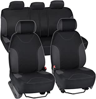 BDK OS-334-CC Charcoal Trim Black Car Seat Covers Full 9pc Set - Sleek & Stylish - Split Option Bench 5 Headrests