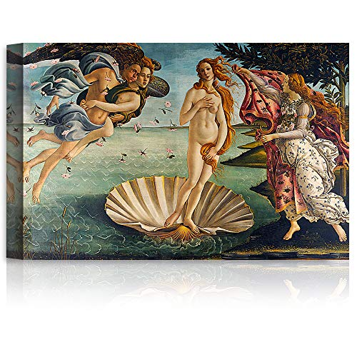 A&T ARTWORK The Birth of Venus by Sandro Botticelli The World Classic Art Reproductions, Giclee Canvas Prints Wall Art for Home Decor, 24x16 inches