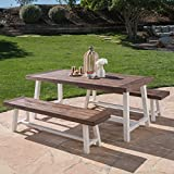 Cassie Outdoor Modern Industrial 3 Piece Acacia Wood Picnic Dining Set with Benches, Sandblasted Dark Brown and White Rustic Metal