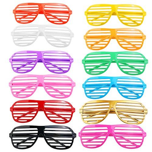 BESTOYARD BESTOYARD 24 Paare von Mode Kunststoff Shutter Shades Gläser Sonnenbrille Brillen Halloween Club Party Cosplay Requisiten (zufällige Farbe)