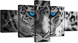 Hello Artwork Large 5 Pieces Animal Canvas Wall Art Leopard Face with Blue Eyes Black and White Wildlife Pictures Print On Canvas Stretched and Framed for Home Modern Decoration Ready to Hang