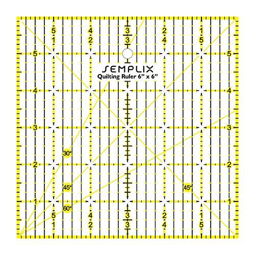 SEMPLIX Patchwork Quiltlineal mit Winkelfunktion für Quadrate, Streifen, Dreiecke (6 x 6 inch)