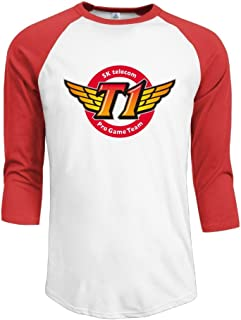 Men SKT T1 3/4 Sleeve Cotton Baseball Shirt