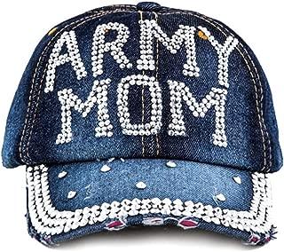 Crazy4Bling Dark Denim Army Mom Rhinestone Faceted Crystal Studded Design Cap Hat