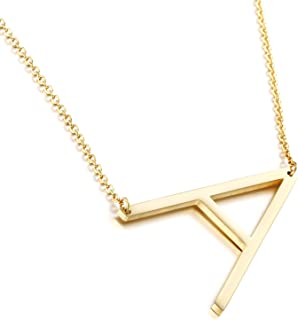 Awegift Initial Necklace Big Letter Sideways Large Pendant Jewelry Monogram Name Necklaces for Women Girls Her Birthday Bridesmaid Gift