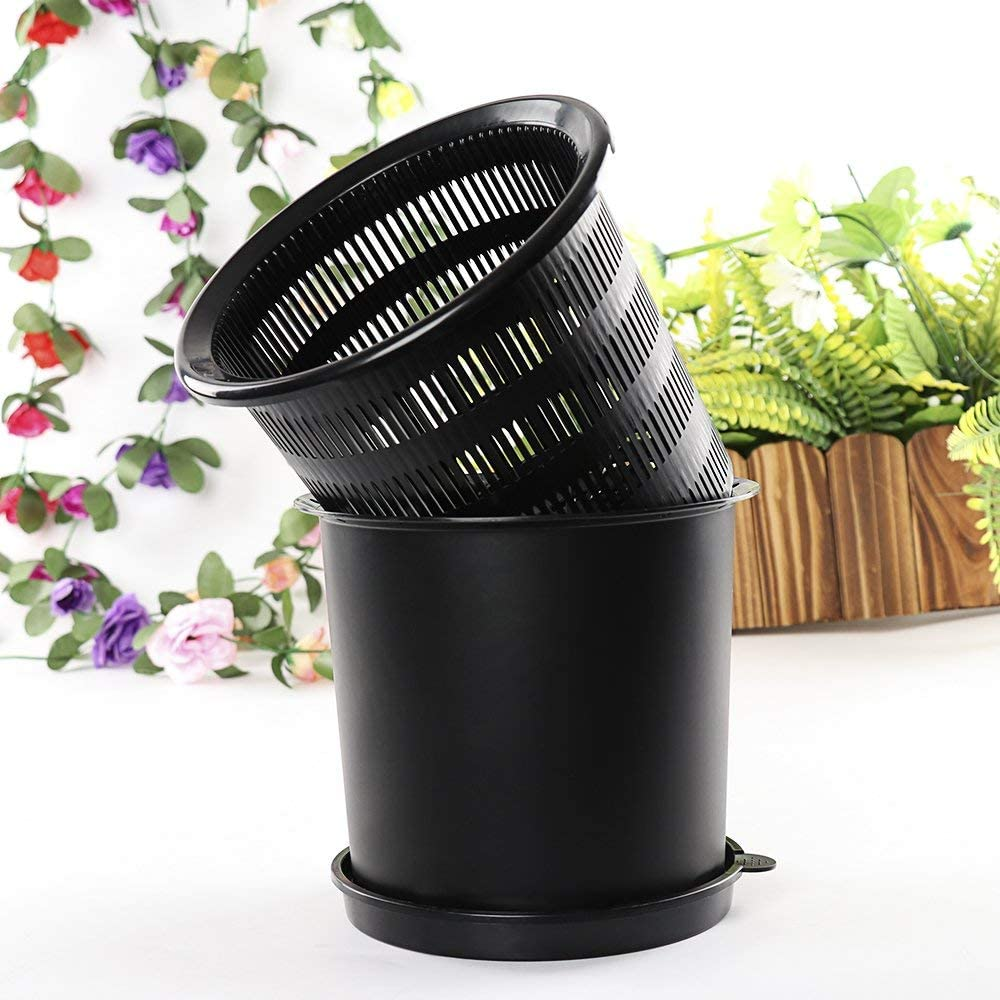 Orchid Flower Pot, 8-inch Flower Planters with Holes and Mesh Plastic Round Plant Pot for Indoor Outdoor Gardening Plants - Outer and Inner Pots (Black)
