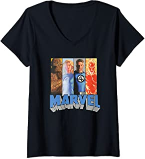 Femme Marvel Fantastic Four Super Heroes The Timeless Collection T-Shirt avec Col en V