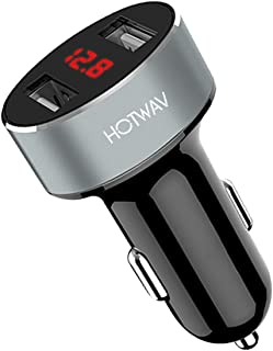 Car Charger,HOTWAV Cigarette Lighter Voltage Meter Dual Port USB Car Charger with 5V-2.1A Output for iPhone Xs/Max/XR, iPad Pro/Mini, Samsung Galaxy Note9 and More