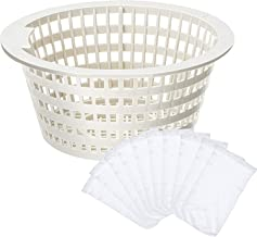 Replacement Skimmer Basket Strainer Basket Small Standard Size with 10 Pool Skimmer Socks, Durable Elastic Nylon Fabric Filters of Swimming Pools, Pool Supplies Skimmers (Without Handle)