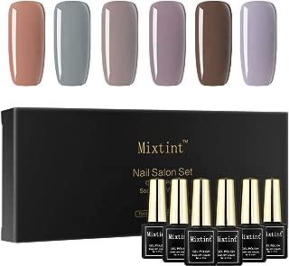 Mixtint Soak Off UV Nail Gel Polish 6 Grey Brown Colors Gel Varnish Nail Art Manicure Lacquer Gift Box Set 011