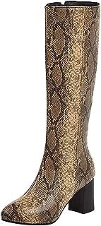 Melady Women Fashion Mid Boots Block High Heels Zipper