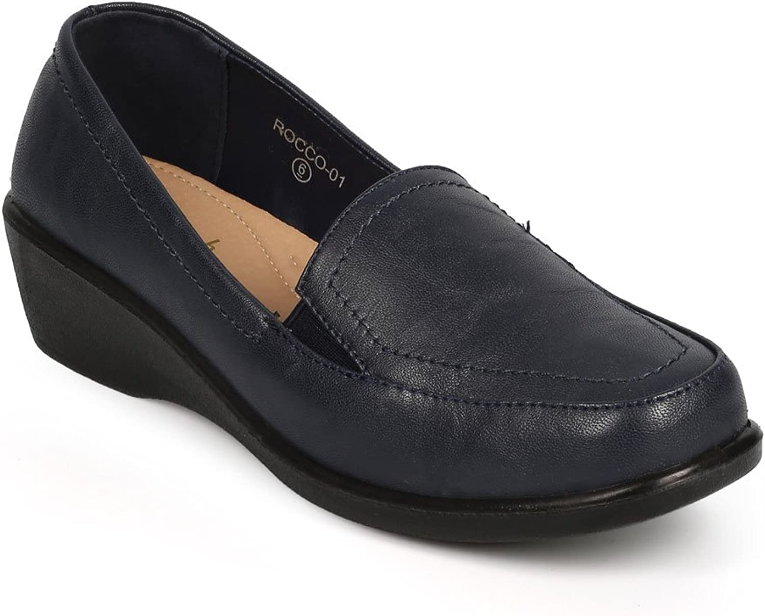 Refresh DH15 Women Leatherette Square Toe Elastic Wedge Loafer Clog - Navy