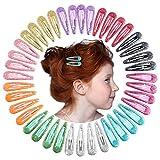 QtGirl Snap Hair Clips 40pcs 2' No Slip Glitter Hair Clip Metal Hair Barrettes for Baby Girls Toddlers