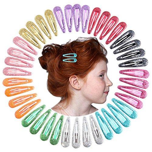 "QtGirl Snap Hair Clips 40pcs 2"" No Slip Glitter Hair Clip Metal Hair Barrettes for Baby Girls Toddlers"