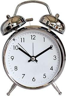 古典的なレトロな目覚まし時計、サイレント非カチカチ音をたてるツインベル目覚まし時計ムーブメントベッドサイドナイトライト付き大声で目覚まし時計クォーツ電池式寝室用リビングクロック