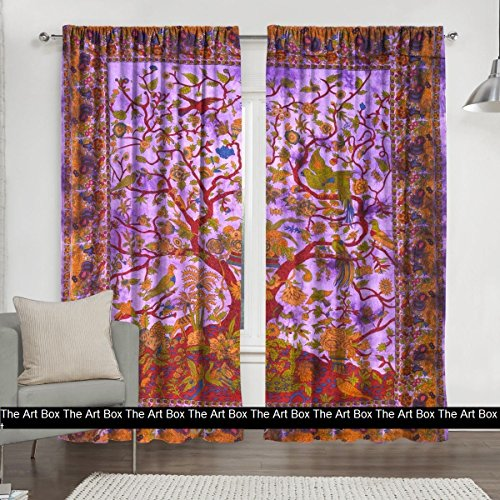 Window Curtains Indian Window Drapes Set of 2 Tapestry Window Curtains Hanging Valances For Window Room Divider (Purple Tree, Curtains Each Panel 84x27 Inch)