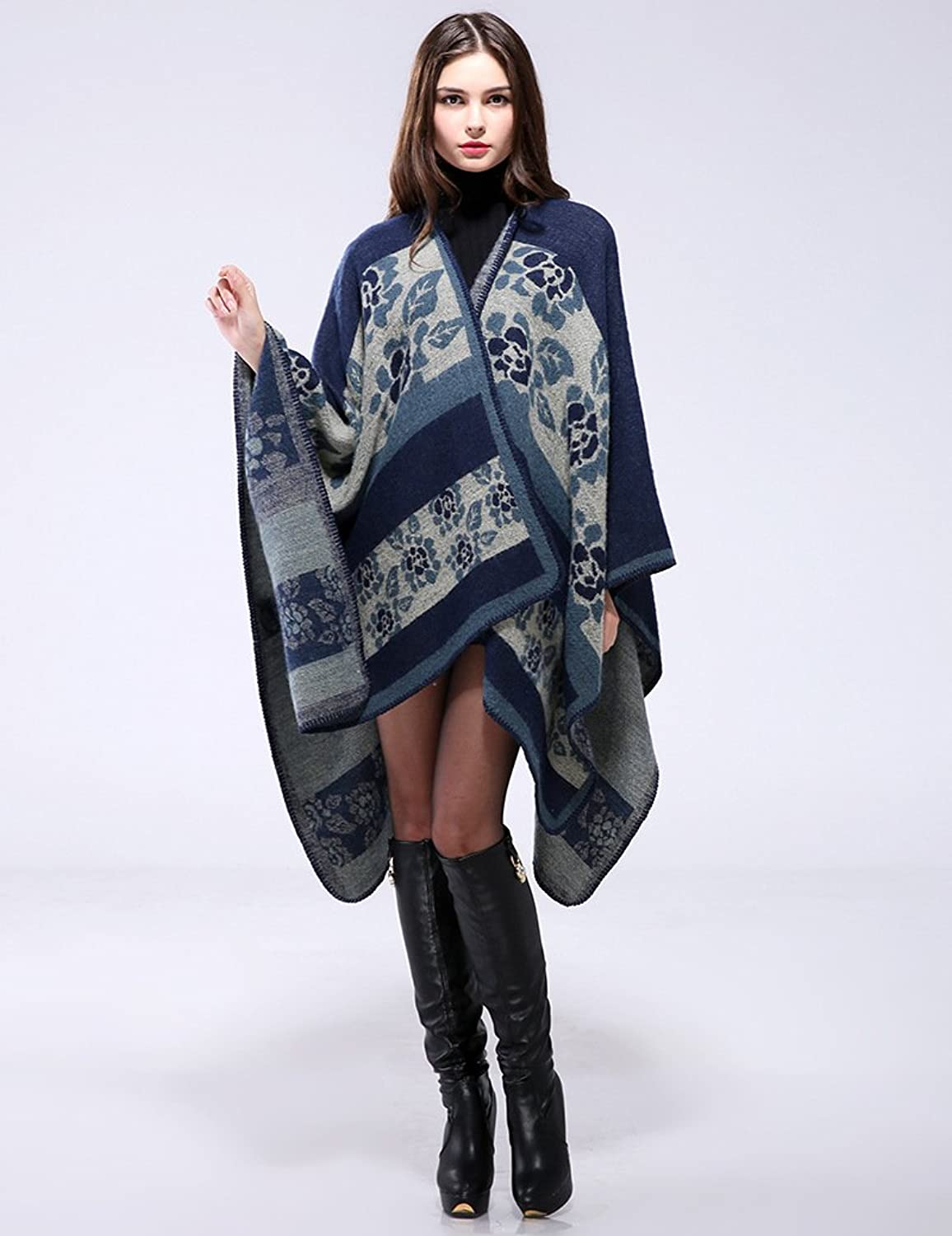 Shawl Knit Cloak Warm Scarf Flower Pattern Long Thick Cashmere Split Shawl for Lady in Autumn and Winter