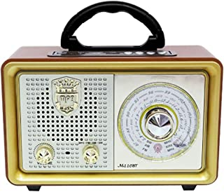 $82 » Retro Portable Bluetooth Speaker AC Battery Operated Vintage Tabletop FM Radio with Big Frequency Scale Enhanced Bass Remo...