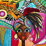 SKRYUIE DIY 5D Diamond Painting by Numbers Kits African Woman, Diamond Art African American Crystal Embroidery Cross Stitch Art Craft Wall Sticker Decoration Wall Decoration 14x14inch