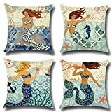 ULOVE LOVE YOURSELF Ocean Theme Throw Pillow Case Mediterranean Style Cotton Linen Mermaid Square Cushion Covers 18 X 18 Inch Nautical Pillow Covers,4 Pack Coastal Pillow Covers