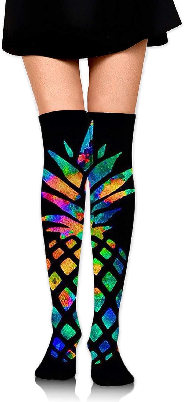 SWEET TANG Women Girl Knee High Socks Leg Warmer Dresses Knit High Stockings Cosplay Socks (Pineapple Colorful)