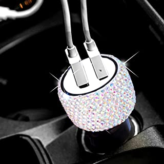 Dual USB Car Charger Bling Bling Handmade Rhinestones Crystal Car Decorations for Fast Charging Car Decors for iPhone, iPad Pro/Air 2/Mini, Samsung Galaxy Note9/8/S9/S9+,LG, Nexus, HTC, etc