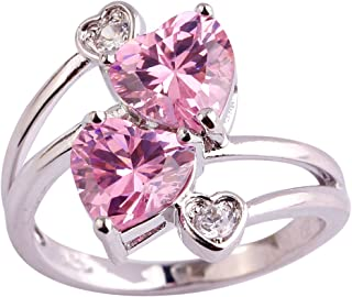 Women's 925 Sterling Silver Created Rainbow Topaz Filled Heart Knuckle Ring