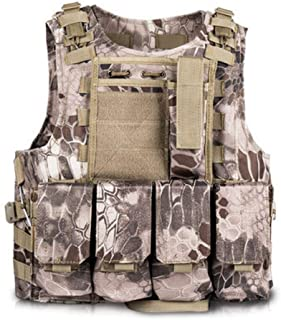 Toyfun Kids Tactical Vest Kit Woodland Camo Combat Assault Waistcoat Army/Military/Police Style, Adjustable and Multi-Colors