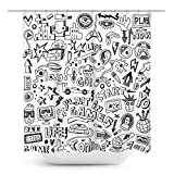 Coxila Video Games Shower Curtain Boys Funny Graffiti Monitor Device Gadget Teen 90's 60 x 72 Inch Polyester Fabric Waterproof 12 Pack Plastic Hooks