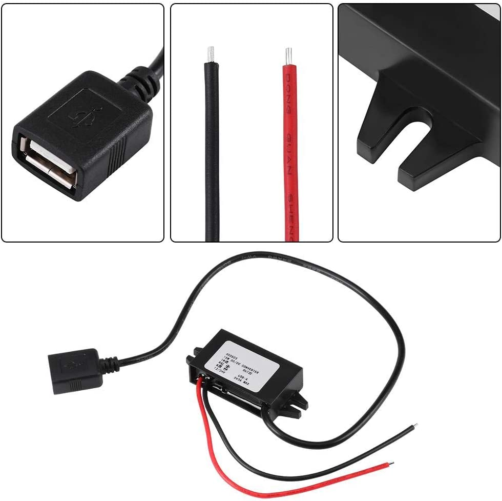 DC-DC 12V to 5V 3A Micro USB Converter 15W Voltage Step Down Regulator Waterproof USB Power Adapter for Car Smartphone (Converter 1)