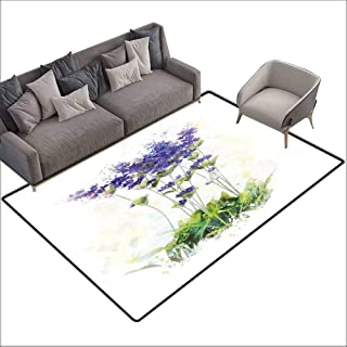 Anti-Slip Cooking Kitchen Carpets Lavender,Fresh Flowers on Stems Rural Country Inspired Digital Watercolor Art,Violet Blue Reseda Green 60