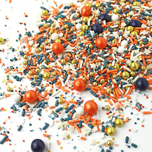 Orbit Baseball| Orange Blue Gold White Quality Party Colorful Candy Sprinkles Mix For Baking Edible Cake Decorations Cupcake Toppers Cookie Decorating Ice Cream Toppings, 4OZ