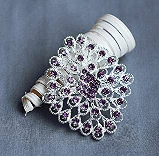 Rhinestone Brooch Component Crystal Light Amethyst Purple Peacock Feather Hair Comb Shoe Clip Pin Wedding Cake Decoration BR133