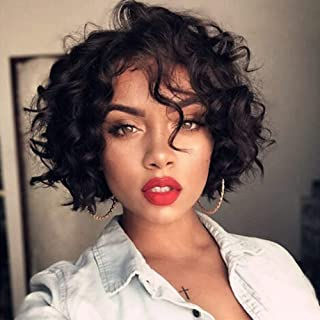 Full Lace Loose Curly Virgin Human Hair Wigs Free Part Pre Plucked Natural Hairline Brazilian Short Bob Curly Wigs For Bla...