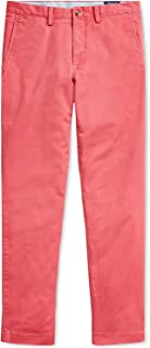 Ralph Lauren Polo Men's Stretch Straight Fit Flat Front Chino Pants (Nantucket Red, 32x30)